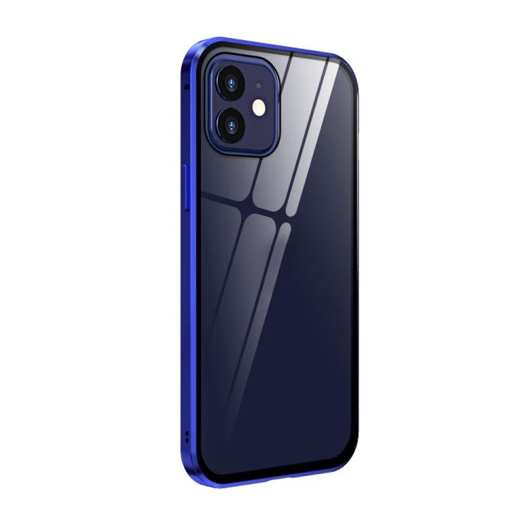 Сине-фиолетовый чехол-книжка магнитный на Айфон 12 Мини
