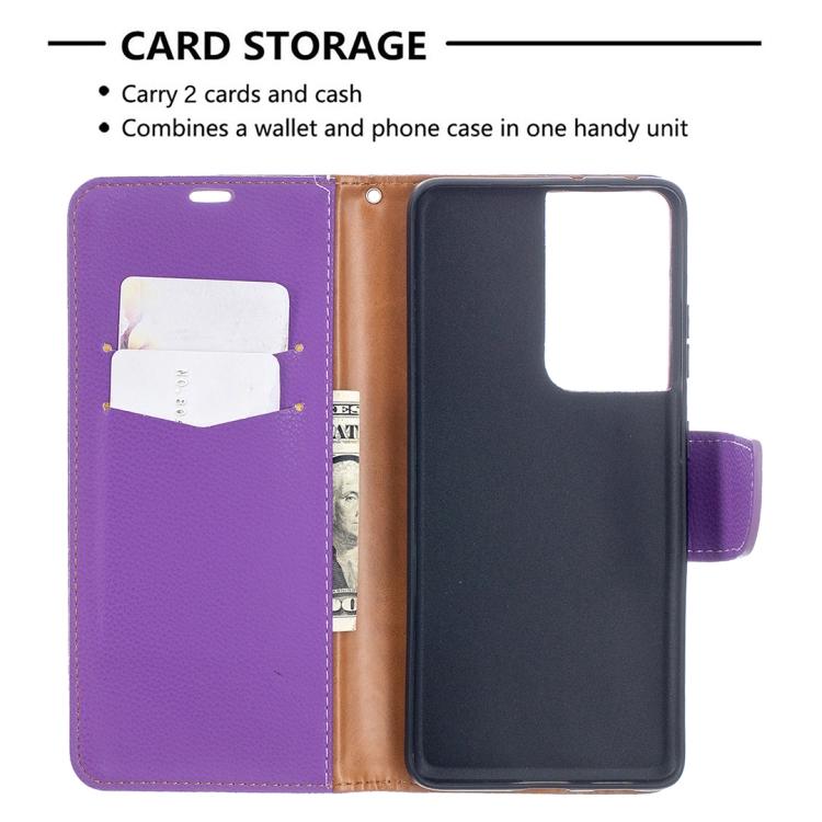 Чехол-книжка фиолетовый с карманами для карт для Самсунг Галакси С21 Ультра