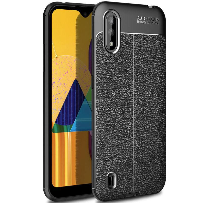 Противоударный чехол Litchi Texture на Samsung Galaxy A01 Core / M01 Core - черный