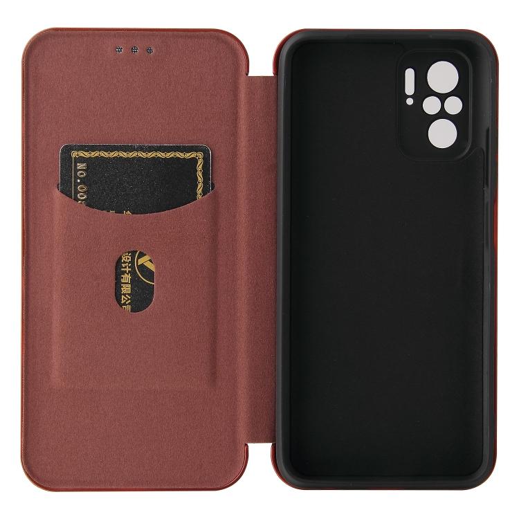 Чехол-книжка Carbon Fiber Texture на Ксяоми Редми Нот 10 Pro / Note 10 Pro Max - коричневый