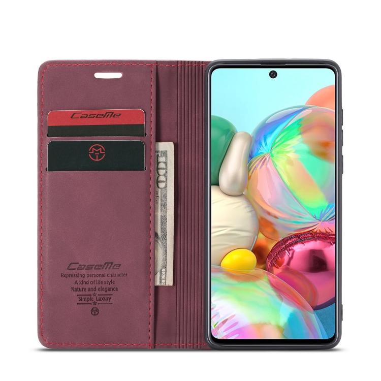 Чехол-книжка с слотами под кредитки для Самсунг Гелекси А71 винно-красного цвета