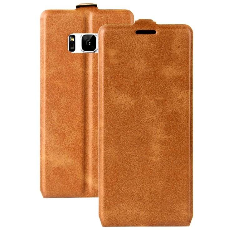 Кожаный флип-чехол на Samsung S8-коричневый