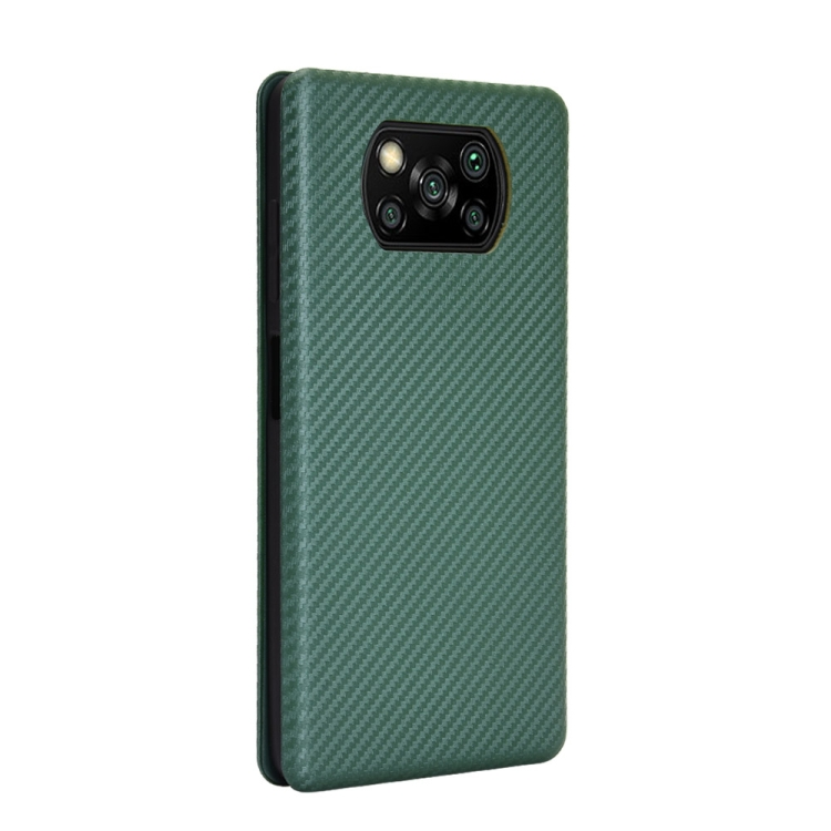 Чехол-книжка Carbon Fiber Texture на Xiaomi Poco X3 / Poco X3 Pro - зеленый