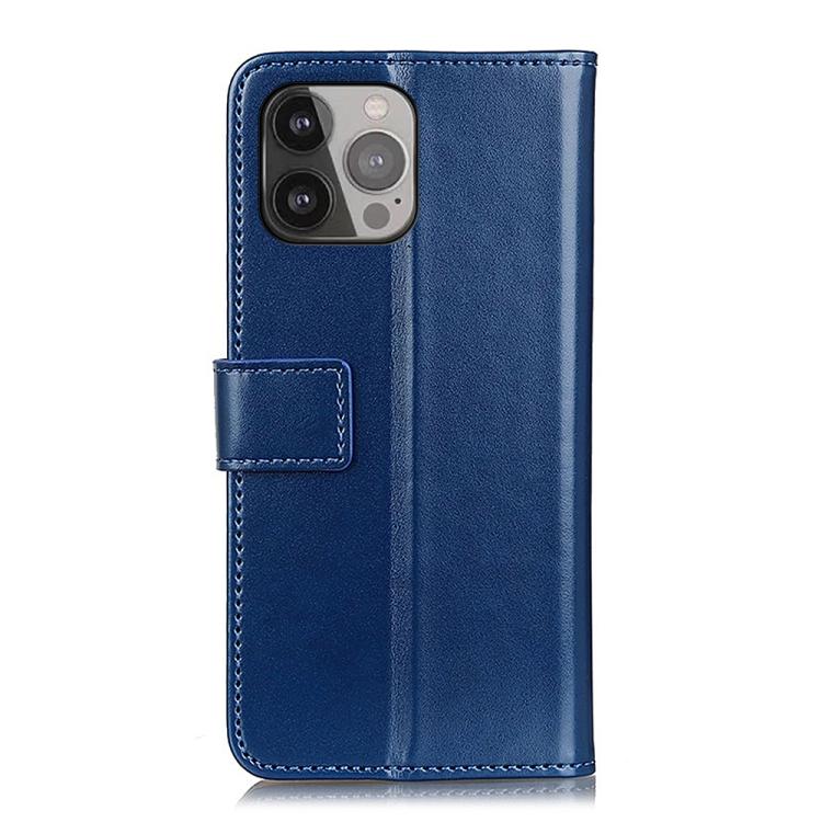 Синий кожаный чехол-книжка для Айфон 13 Про Макс