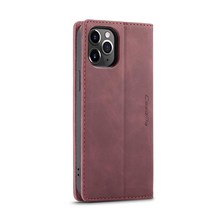 Кожаный чехол CaseMe-013 Multifunctional на iPhone 12 Pro Max - винно-красный
