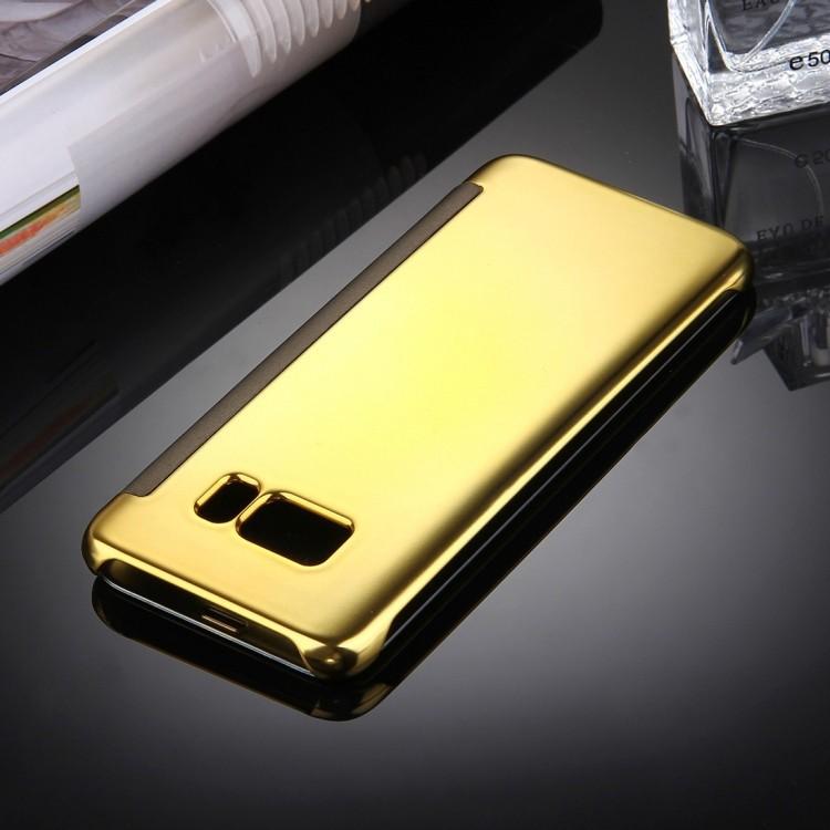 Зеркальный чехол- книжка Электроплейтинг Мирор на Самсунг С8-золотой