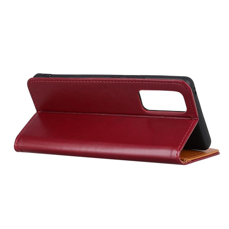 Кожаный чехол подставка на Самсунг Гелекси С20 красного цвета