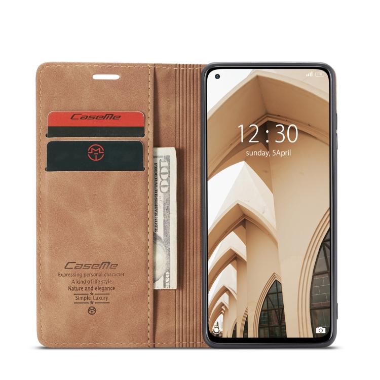 Чехол-книжка с слотами под кредитки коричневого цвета для Сяоми Ми 10Т