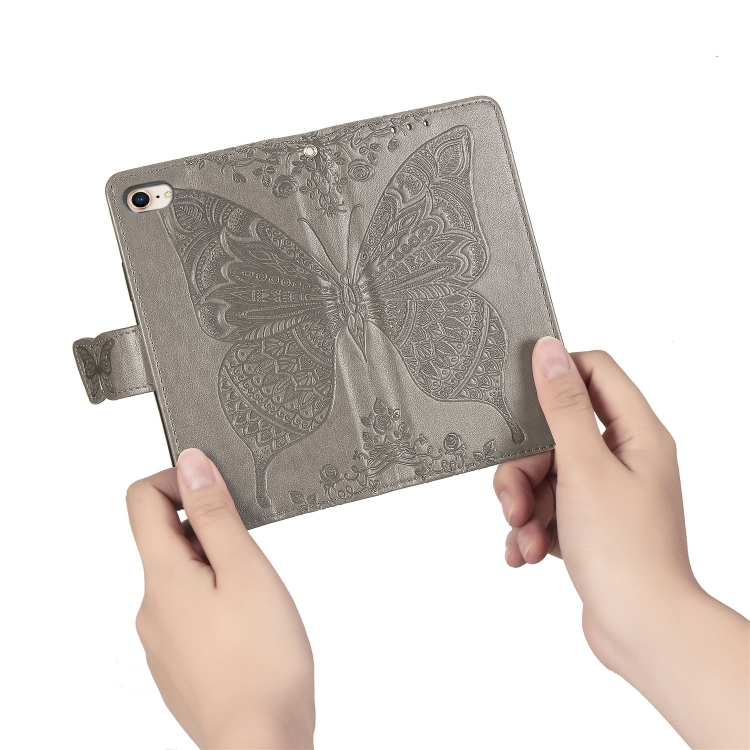 Чехол-книжка Butterfly Love Flower Embossed на Айфон SE 2 2020/7/8 - серый