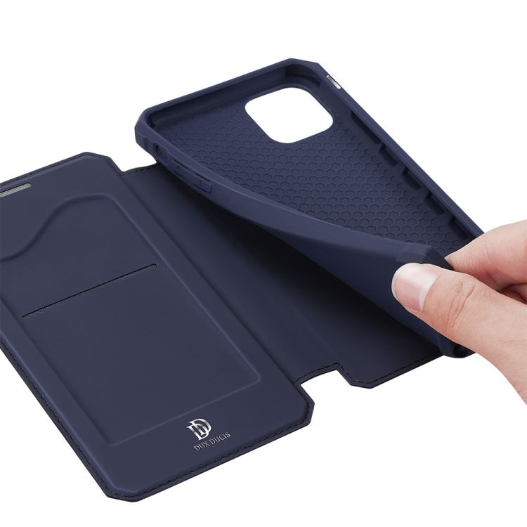 Синий чехол-книжка Skin X Series на Айфон 12 Мини