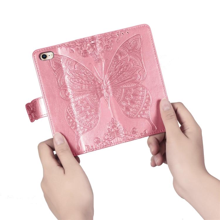 Чехол-книжка Butterfly Love Flower Embossed на Айфон SE 2 2020/7/8 - розовый
