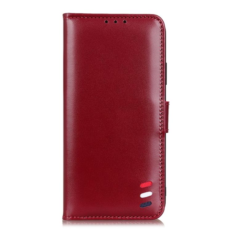 Красный кожаный чехол-книжка для Реалми 8 Про