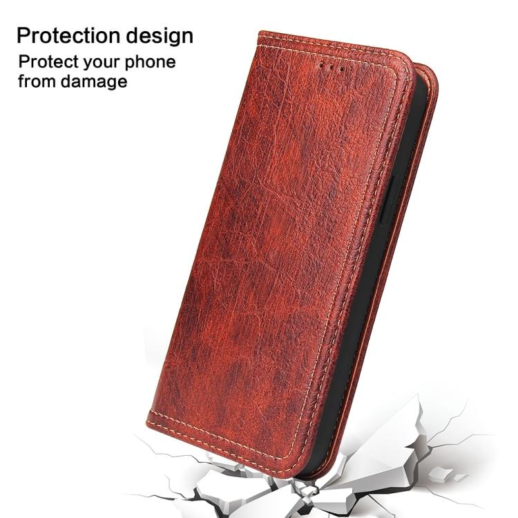 Противоударный чехол-книжка на Айфон 12 Мини красного цвета