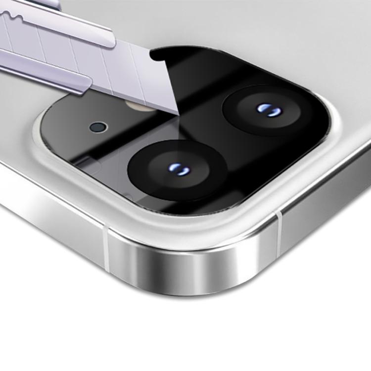 Защитное стекло черного цвета на камеру для Айфон 12 Мини