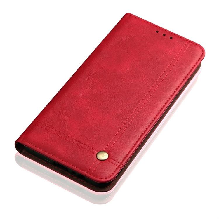 Красный кожаный чехол-книжка с слотами под кредитки на Айфон 11 Про