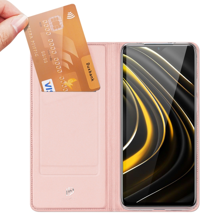 Чехол-книжка с отсеками под кредитки розового цвета для Сяоми Редми 9Т