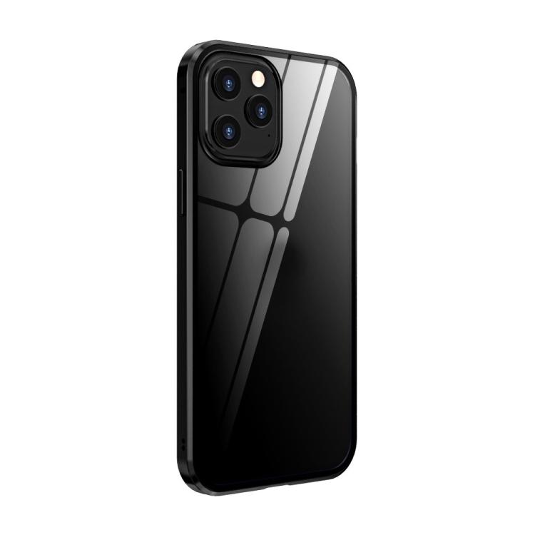 Двухсторонний магнитный чехол Adsorption Metal Frame для iPhone 12 / 12 Pro - черный