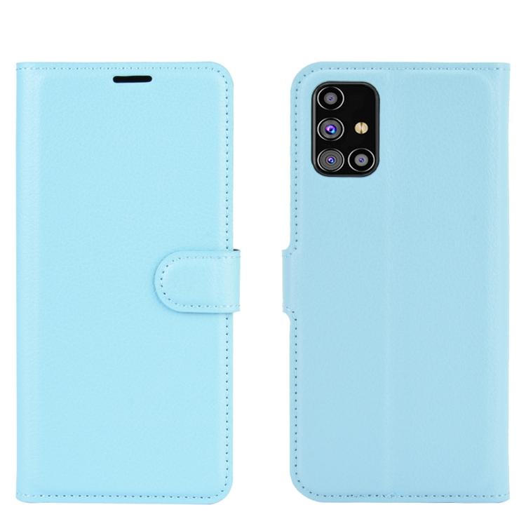 Чехол-книжка Litchi Texture на Samsung Galaxy M31s - синий