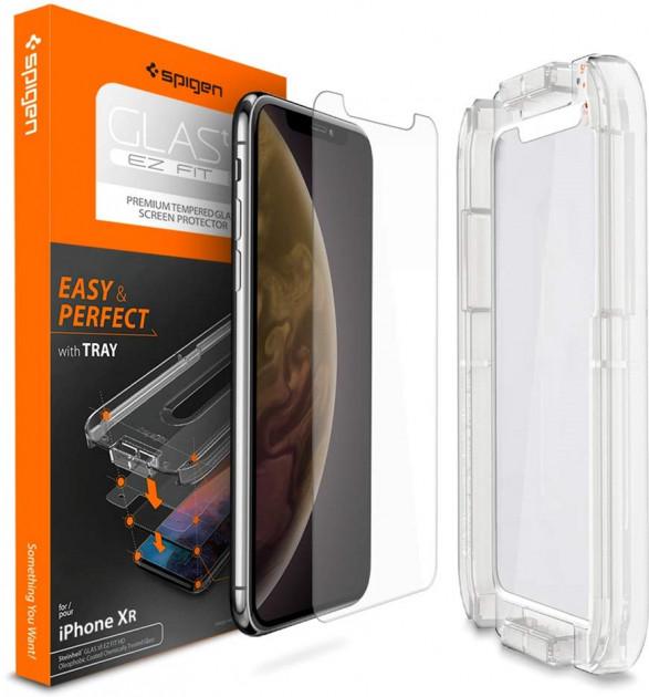 """Каленое защитное стекло Spigen Glas.tr """"EZ FIT"""" для iPhone 11 / XR"""