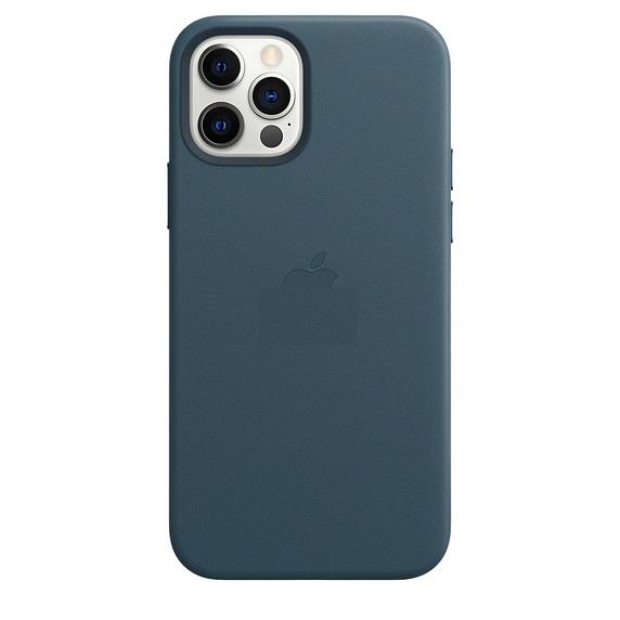Кожаный защитный чехол накладка на Айфон 12 Про Макс синего цвета