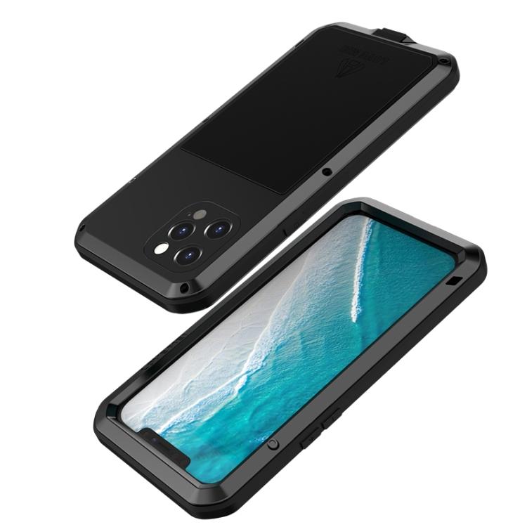 Влагозащитный противоударный чехол LOVE MEI Metal для Айфон 12 Про Макс - черный