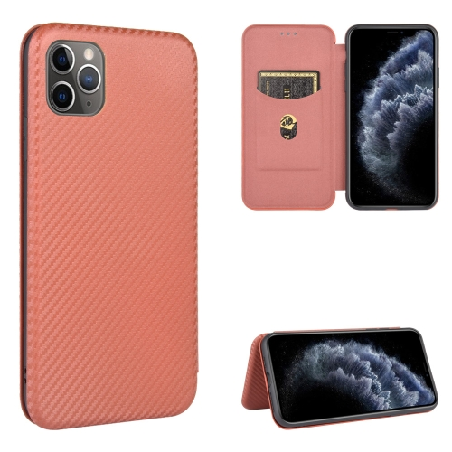 Чехол-книжка Carbon Fiber Texture на iPhone 12 Pro Max - коричневый
