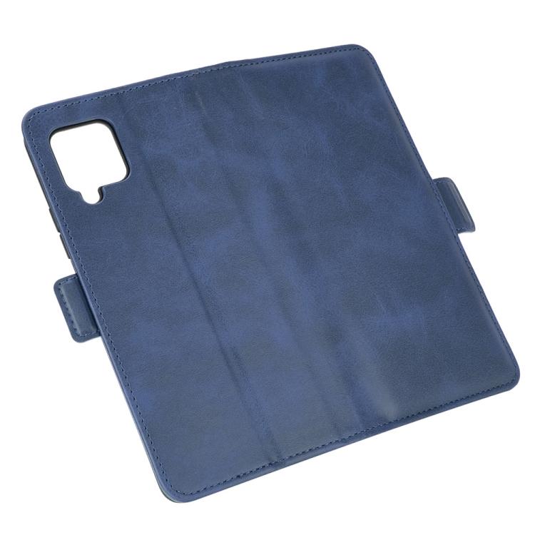 Кожаный чехол-книжка синего цвета с магнитной защелкой на Самсунг Гелекси А42