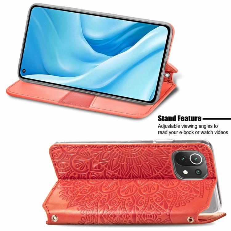 Красный чехол-книжка со складной подставкой для Сяоми Ми 11 Лайт