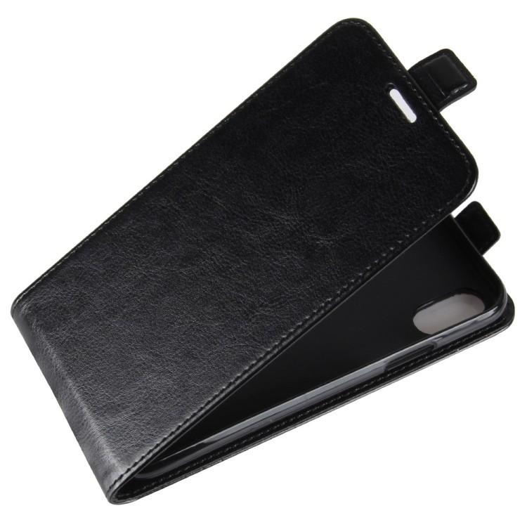Кожаный флип чехол на Айфон X/Xs - черный