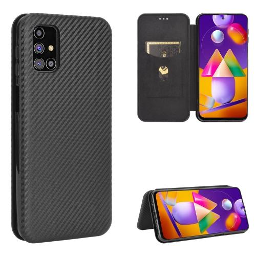 Чехол-книжка Carbon Fiber Texture на Samsung Galaxy M31s - черный