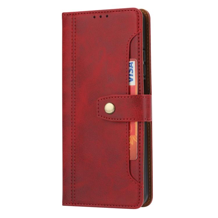 Красный кожаный чехол-книжка для Самсунг Гелекси А52