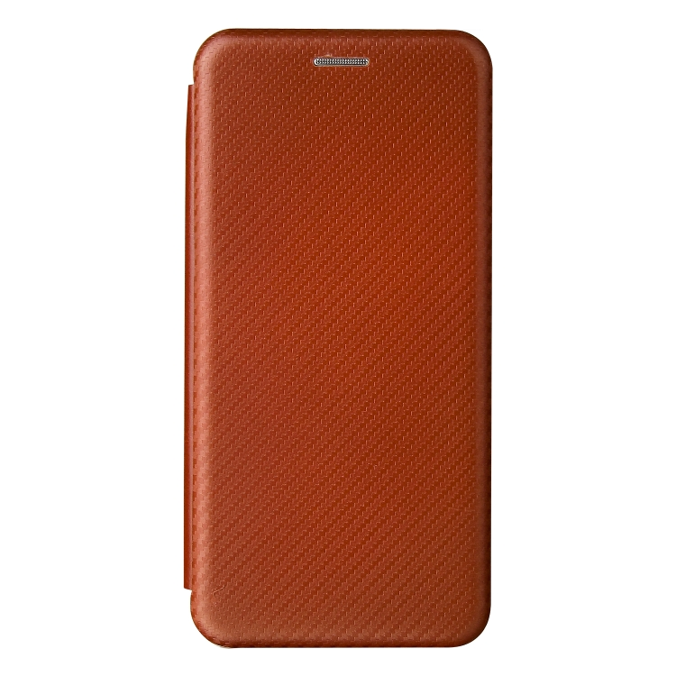 Чехол-книжка Carbon Fiber Texture на Samsung Galaxy S21 FE - коричневый