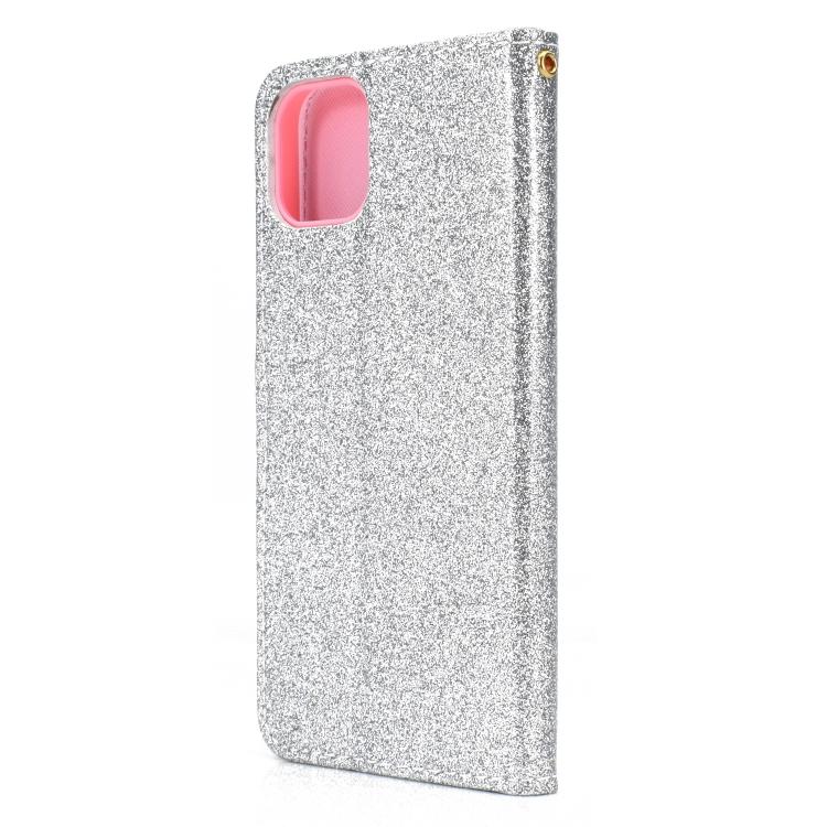 Чехол-книжка Glitter Powder на iPhone 12/12 Pro - серебристый