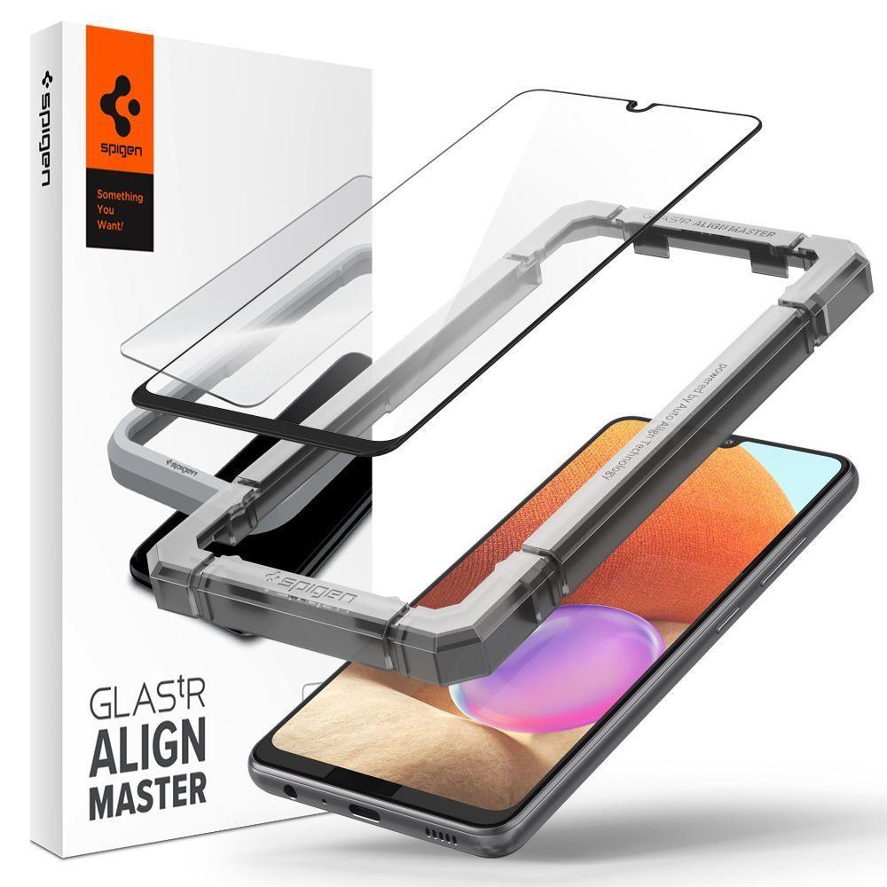 Защитное каленое стекло Spigen для Samsung Galaxy A32 Black