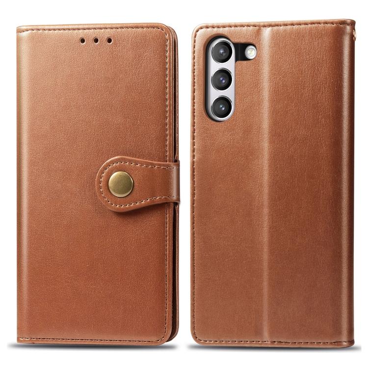 Чехол- книжка Retro Solid Color на Samsung Galaxy S21 FE  - коричневый