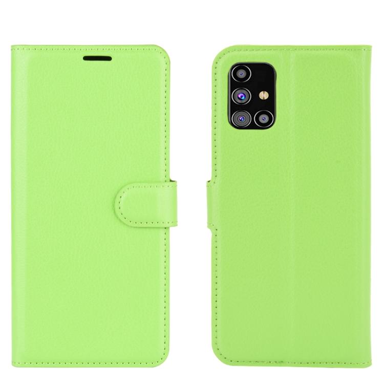 Чехол-книжка Litchi Texture на Samsung Galaxy M31s - зеленый