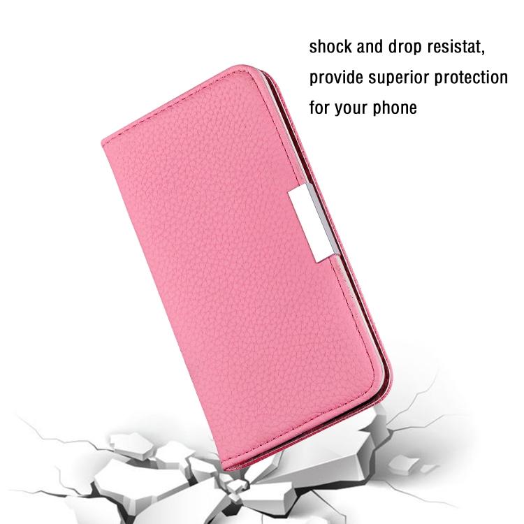 Противоударный чехол-книжка розового цвета на Айфон 12