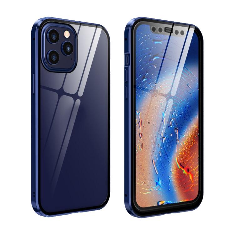 Двухсторонний магнитный чехол Adsorption Metal Frame для Айфон 12 Про Макс- синий