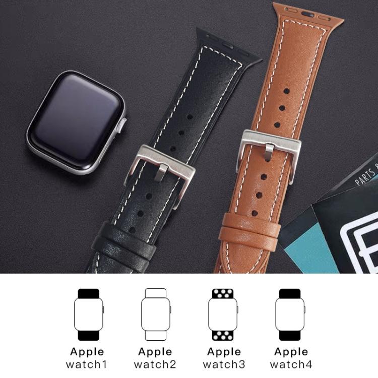 Кожаный ремешок Mutural Leather на Apple Watch 42/44mm - коричневый