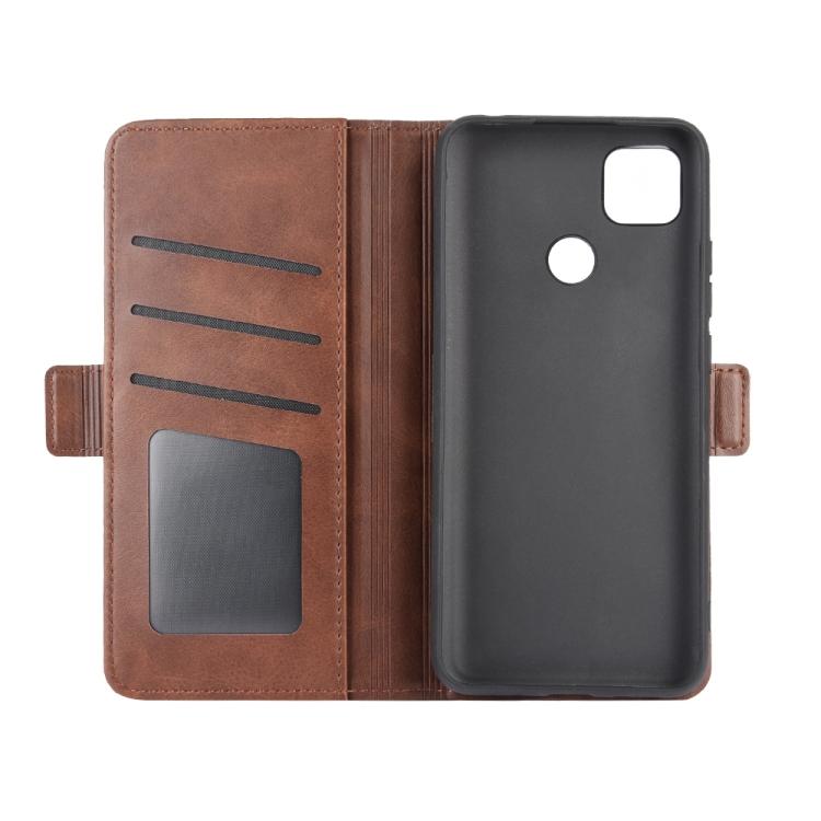 Чехол-книжка Dual-side Magnetic Buckle для Ксяоми Редми 9C - коричневый