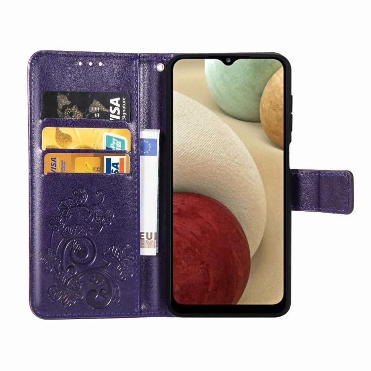 Фиолетовый чехол-книжка со слотами на Самсунг Галакси A12/M12