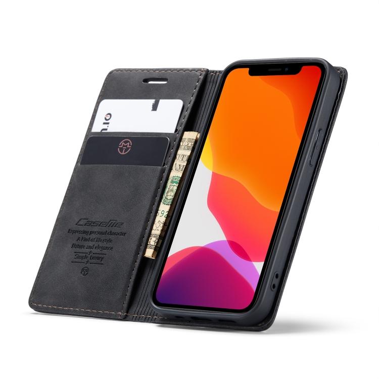 Чехол-книжка черного цвета с слотами под банковские карты на Айфон 12 Мини