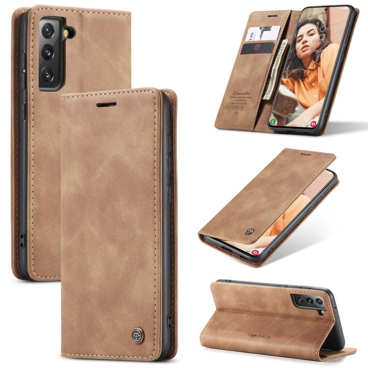 Чехол-книжка CaseMe 013 Series для Samsung Galaxy S21 FE - коричневый