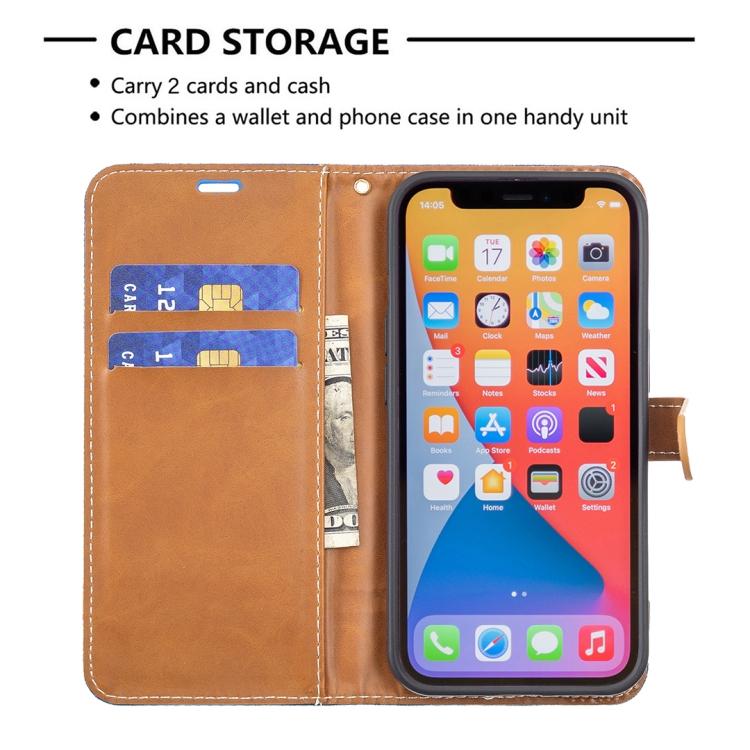 Тканевой чехол-книжка синего цвета со слотами на Айфон 13