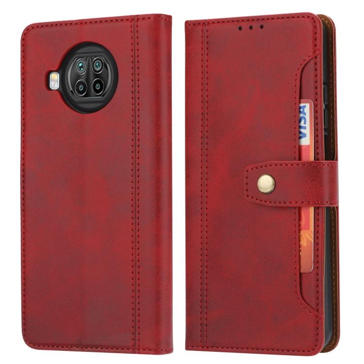 Ударостойкий красный чехол-книжка для Сяоми Ми 10Т Лайт