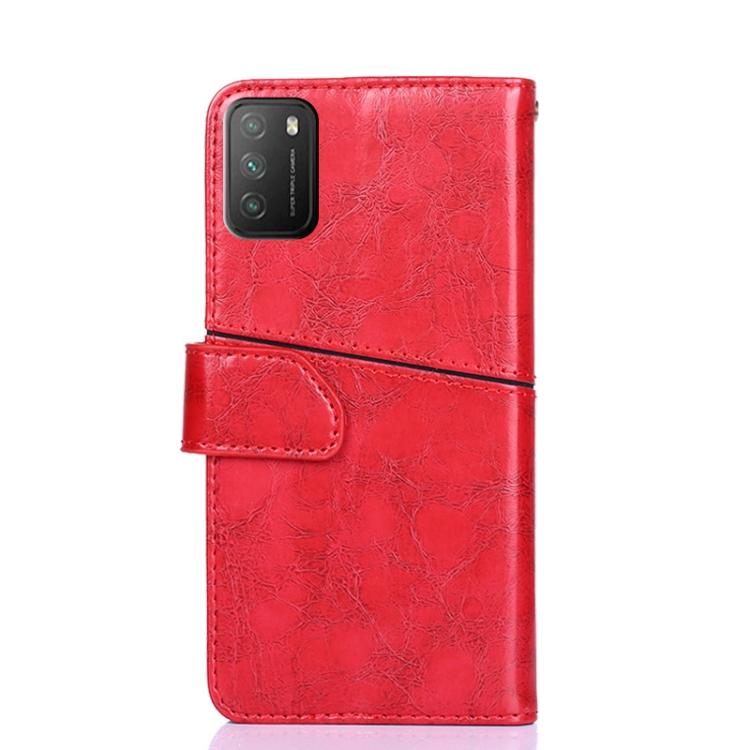 чехол-книжка с геометрией для Xiaomi Poco M3 красный