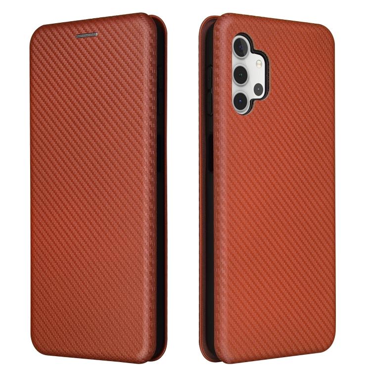 Чехол-книжка карбоновая на Samsung Galaxy A32 - коричневый