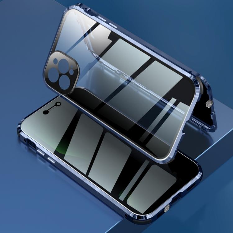 Двухсторонний магнитный чехол синего цвета для Айфон 12 Про Макс