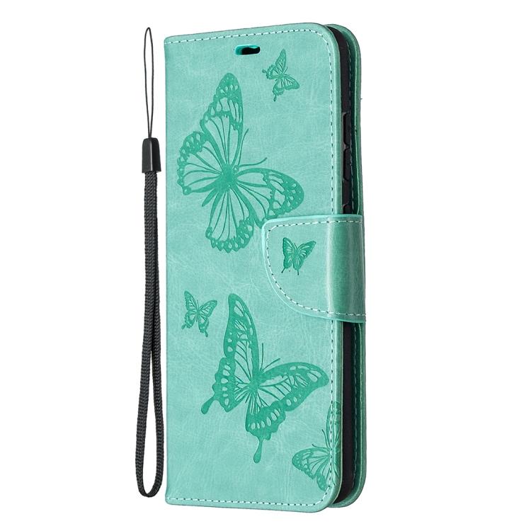 Чехол-книжка Butterflies Pattern на Samsung Galaxy S20 FE - зеленый