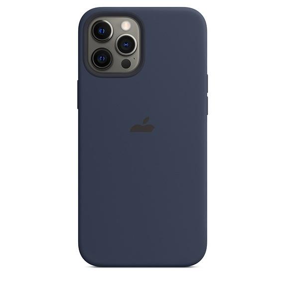 Силиконовый чехол накладка для Айфон 12 Про Макс синего цвета